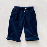Cotton Corduroy Wrap Trousers - Navy
