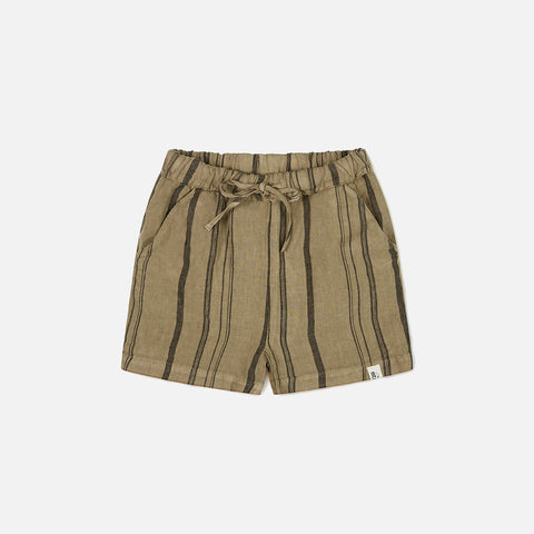 Linen Arkie Shorts - Clay Stripe