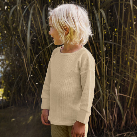 Organic Cotton Waffle Long Sleeve Top - Cream