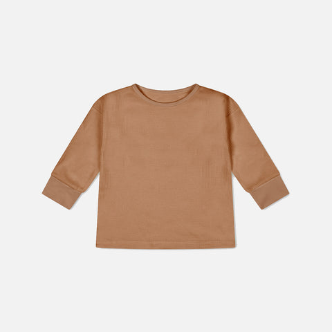 Organic Cotton Waffle Long Sleeve Top - Terracotta
