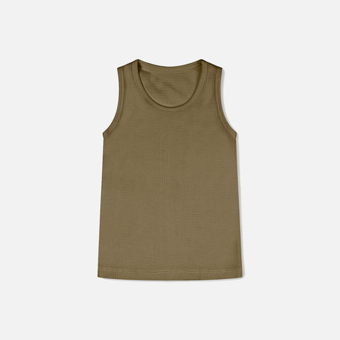 Organic Cotton Waffle Tank top - Olive