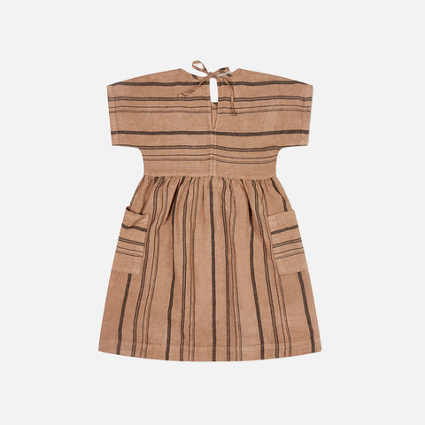 Linen Eden Dress - Tan Stripe