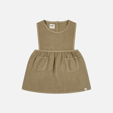 Linen Nora Pinafore Dress - Clay