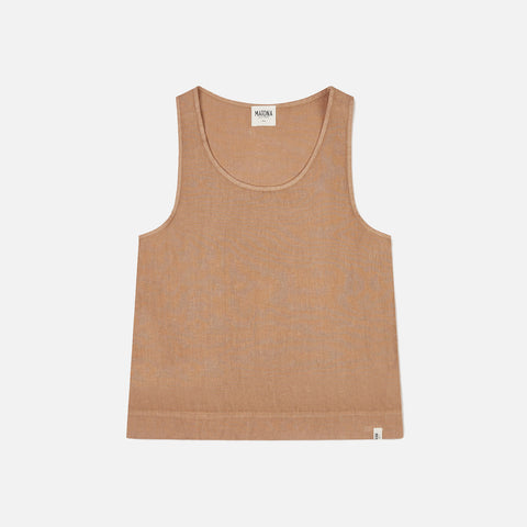 Women's Linen Rosa Tank Top - Tan