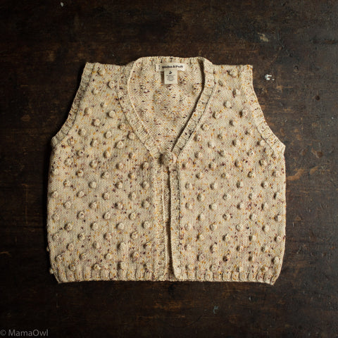 Exclusive Hand Knit Merino Wool Popcorn Vest - Autumn Confetti