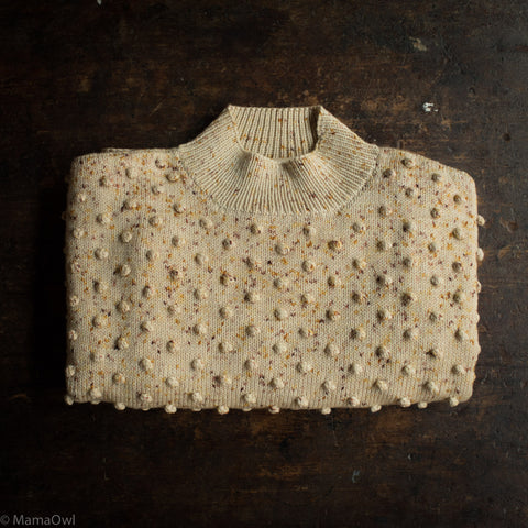 Exclusive Adult's Hand Knit Merino Wool Popcorn Sweater - Autumn Confetti