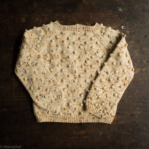 Exclusive Hand Knit Merino Wool Popcorn Sweater - Autumn Confetti