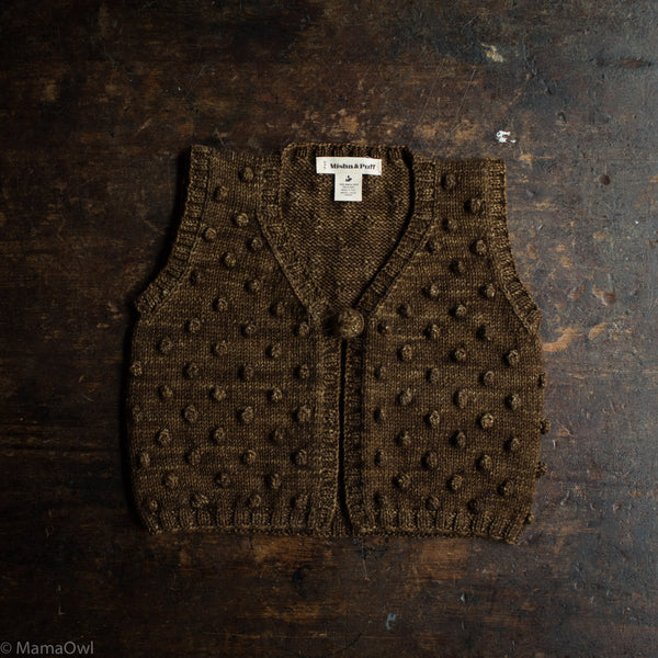 Exclusive Hand Knit Merino Wool Popcorn Vest - Nut Brown