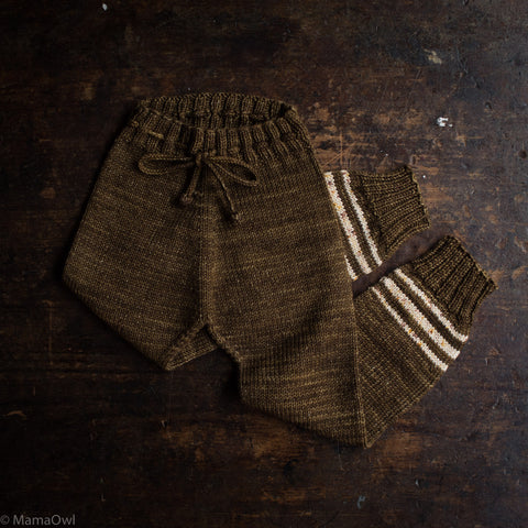 Exclusive Hand Knit Merino Wool Snowy Day Leggings - Nut Brown Stripe