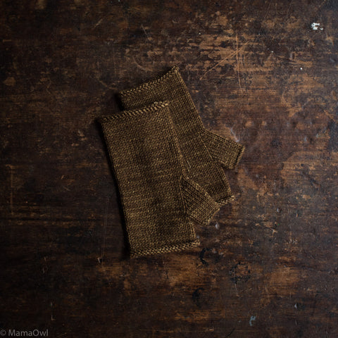Exclusive Adult's Hand Knit Merino Wool Merino Wool Hand Warmers - Nut Brown