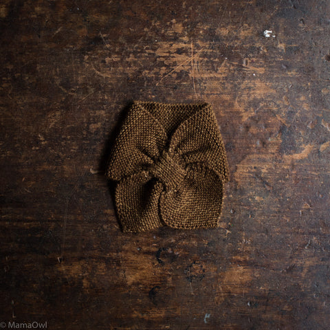 Exclusive Hand Knit Merino Wool Sledding Scarf - Nut Brown