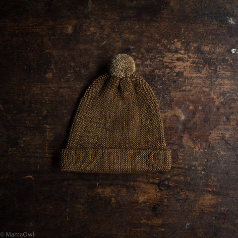 Exclusive Adult's Hand Knit Merino Wool Garter Hat - Nut Brown
