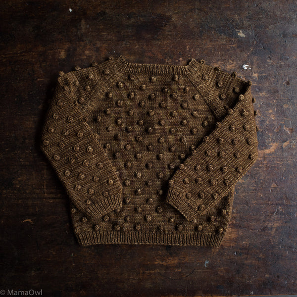Exclusive Hand Knit Merino Wool Popcorn Sweater - Nut Brown