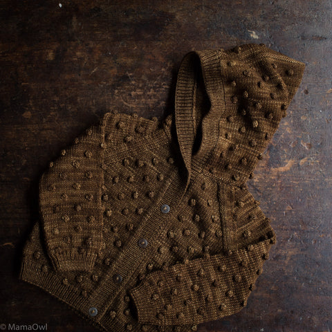Exclusive Hand Knit Hooded Popcorn Cardigan - Nut Brown