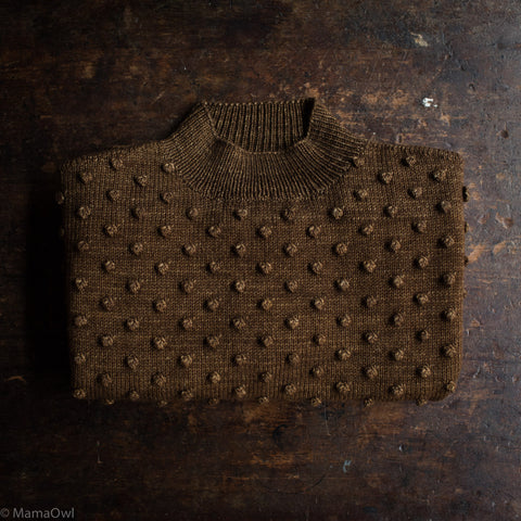 Exclusive Adult's Hand Knit Merino Wool Popcorn Sweater - Nut Brown