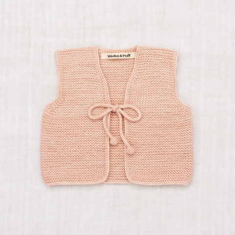 Hand Knit Merino Wool/Cashmere Layette Captain's Vest - Faded Rose
