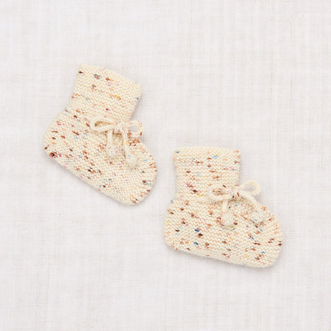 Hand Knit Merino Wool/Cashmere Layette Classic Booties - Confetti