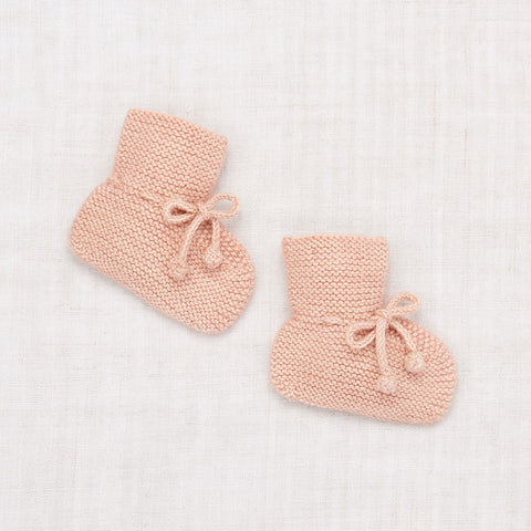 Hand Knit Merino Wool/Cashmere Layette Classic Booties - Faded Rose