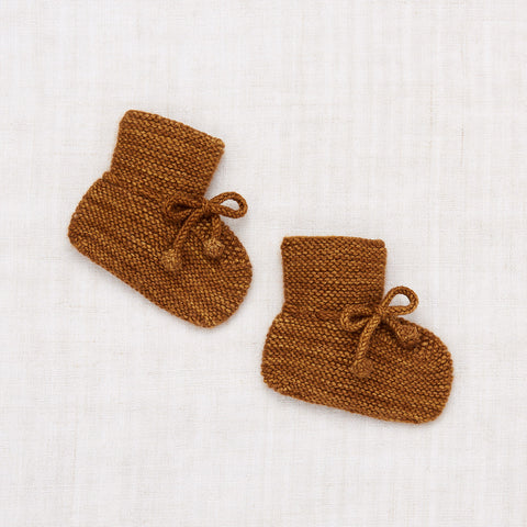 Hand Knit Merino Wool/Cashmere Layette Classic Booties - Nutmeg