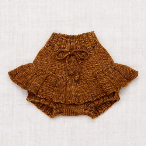 Hand Knit Merino Wool/Cashmere Layette Skating Pond Skirt - Nutmeg