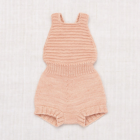 Hand Knit Merino Wool/Cashmere Layette Sugar Maple Sunsuit - Faded Rose
