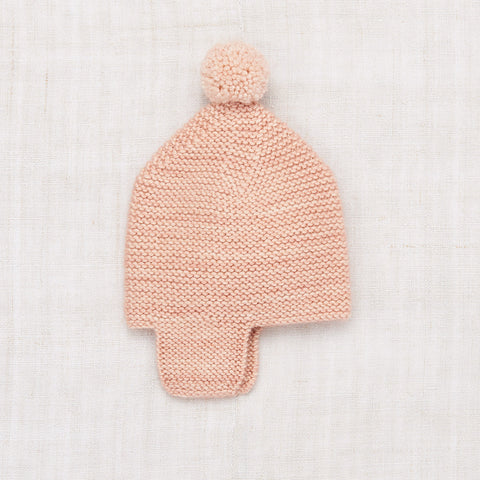 Hand Knit Merino Wool/Cashmere Layette Twig Cap - Faded Rose