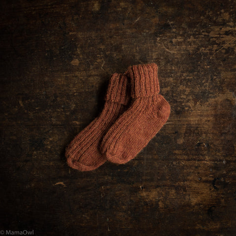Hand-Knitted Alpaca Socks - Hazelnut