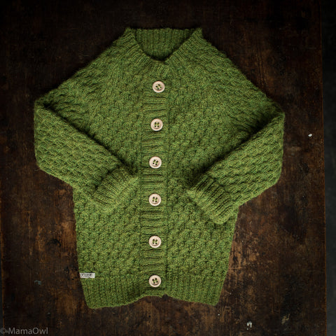 Hand-Knitted Alpaca Smock Cardigan - Forest