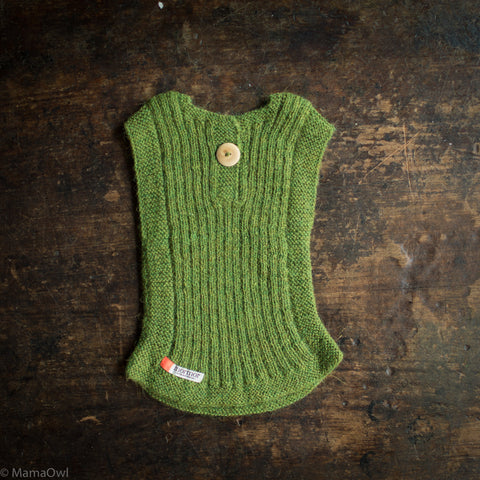 Hand-Knitted Alpaca Rib Vest - Forest