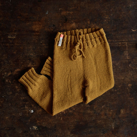 Hand-Knit 100% Wool Kids Pants - Mustard