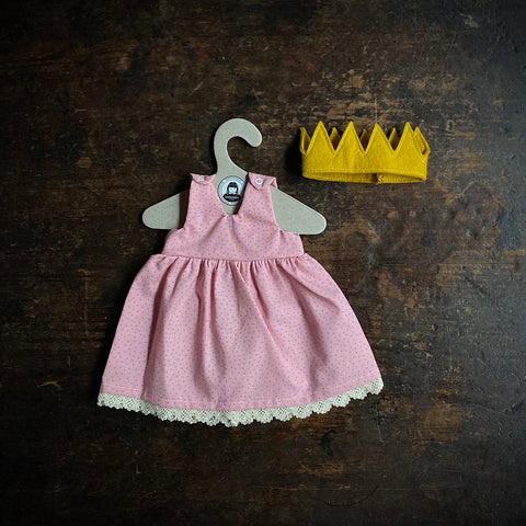 Organic Cotton Dolls Princess Dress And Crown - Pink/Polka Dots