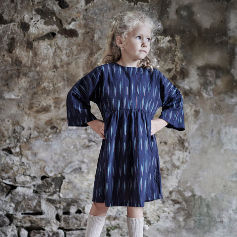 Organic Cotton Agatha Dress - Blue Ikat