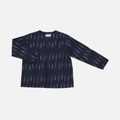 Organic Cotton Liam Shirt - Blue Ikat