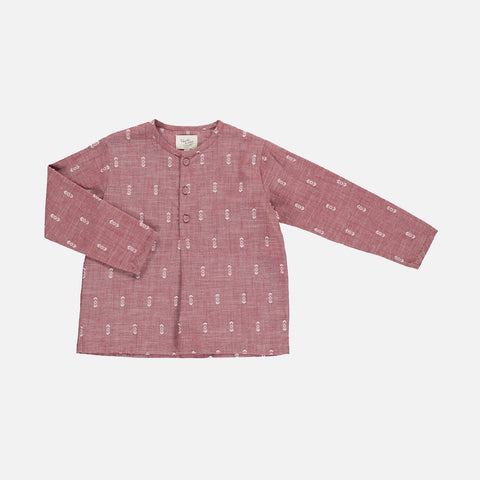 Organic Cotton Liam Shirt - Terracotta Ikat