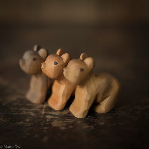 Hand Crafted Wooden Small Sitting Bear