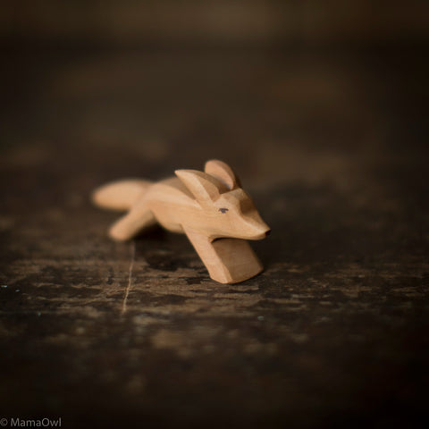 Hand Crafted Wooden Running Fox