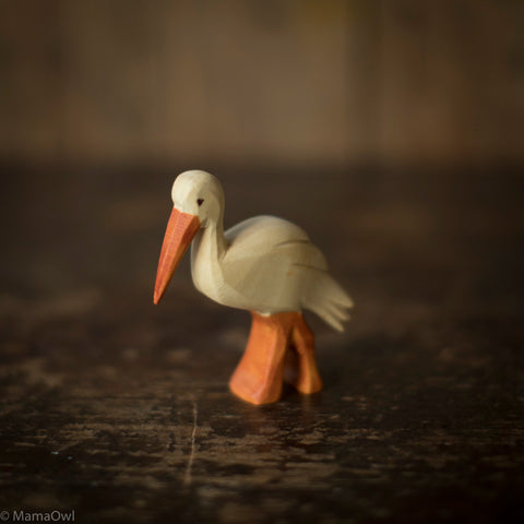 Hand Crafted Wooden Stork