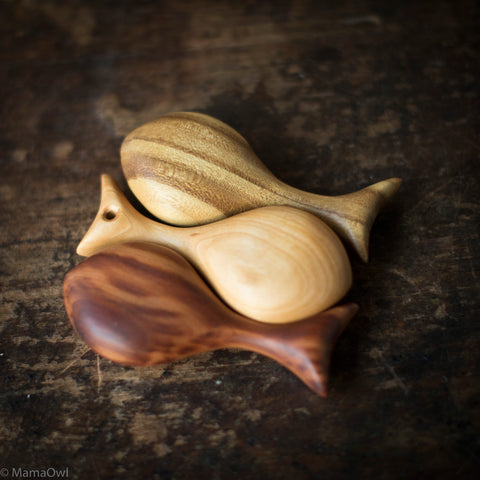 Hand Crafted Wooden Fish Rattle