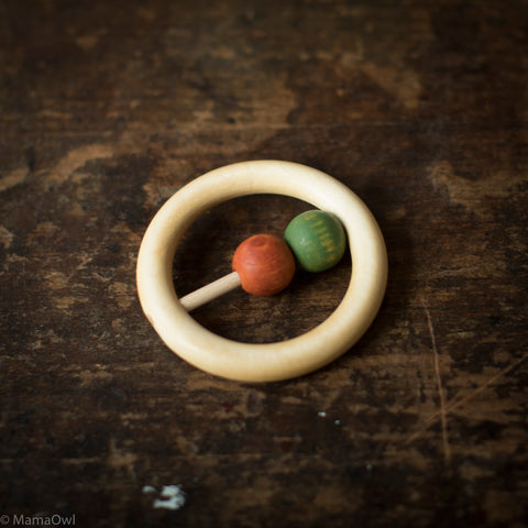 Hand Crafted Wooden Ring Rattle