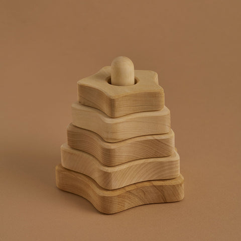 Wooden Star Stacking Tower - Natural
