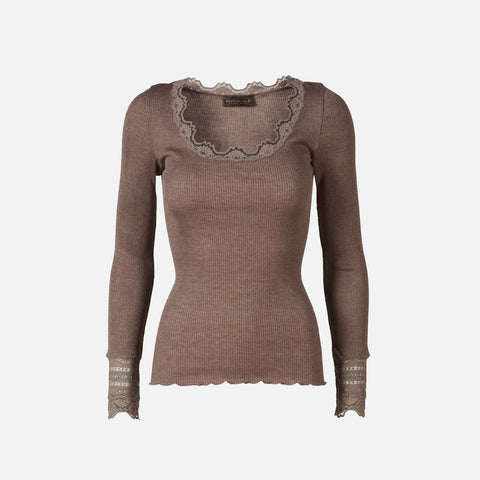 Women's Silk/Cotton LS Rib Top With Lace - Brown Melange