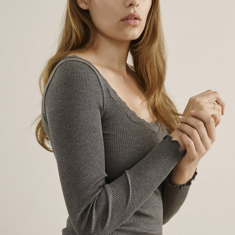 Women's Silk/Cotton LS Rib Top - Dark Grey Melange