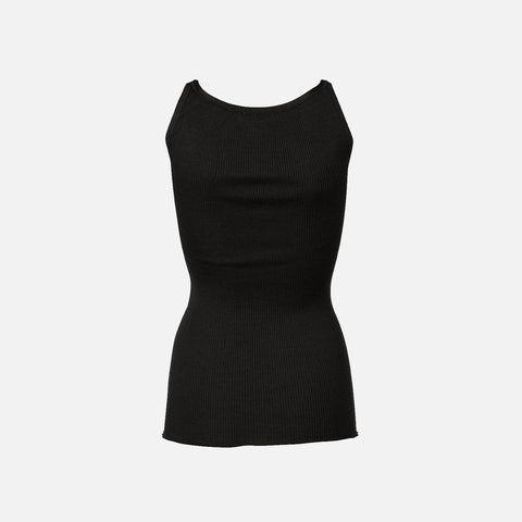 Women's Silk/Cotton Rib Strap Top - Black