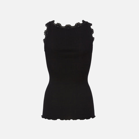 Women's Silk/Cotton Sleeveless Rib Top With Lace - Black