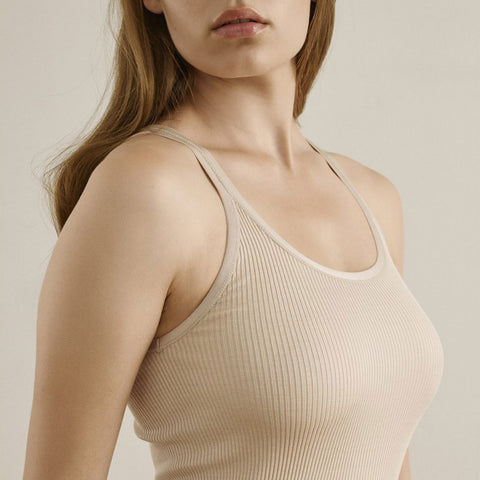 Women's Silk/Cotton Rib Strap Top - Cacao