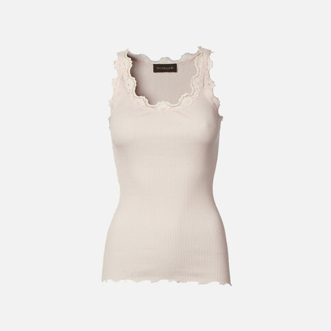 Women's Silk/Cotton Sleeveless Rib Top With Lace - Soft Rose