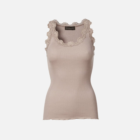 Women's Silk/Cotton Sleeveless Rib Top With Lace - Vintage Powder