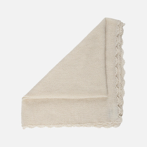 Alapca Semi Hand Knitted Swaddle/Blanket - Creme