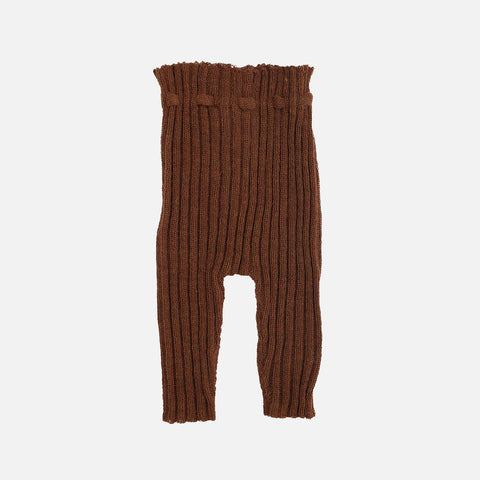 Alpaca Semi Hand Knitted Rib Leggings - Rust