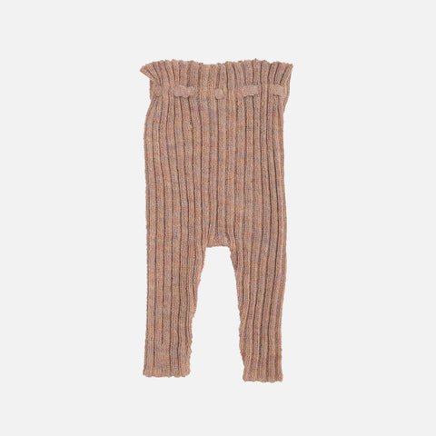 Alpaca Semi Hand Knitted Rib Leggings - Sorbet